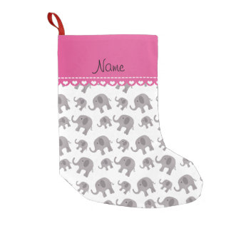 Personalized name white grey elephants small christmas stocking