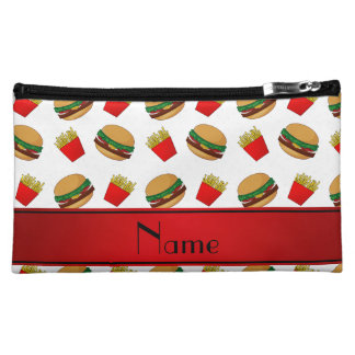 Personalized name white hamburgers fries cosmetic bags