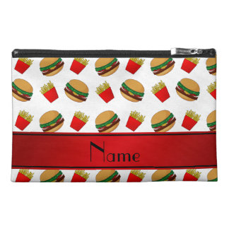Personalized name white hamburgers fries travel accessory bag