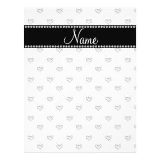 Personalized name white heart diamonds flyer design