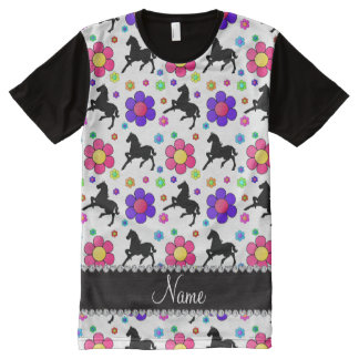 Personalized name white horses flowers pattern All-Over print T-Shirt