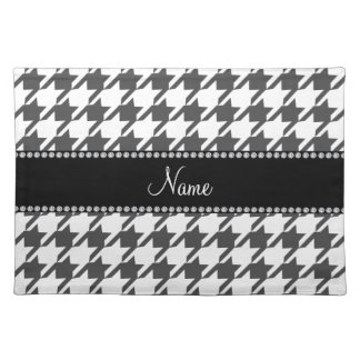 Personalized name white houndstooth pattern placemat