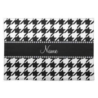 Personalized name white houndstooth placemat