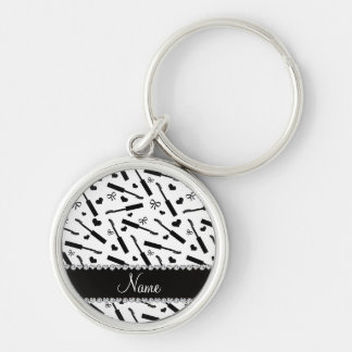 Personalized name white mascara hearts bows Silver-Colored round keychain