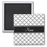 Personalized name White moroccan Magnet