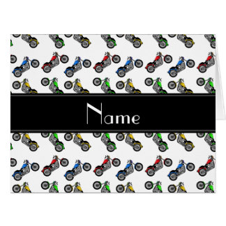 Personalized name white motorcycles card