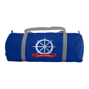 4c972d56d2e5a7 Personalized name, white nautical navy ship wheel, gym bag