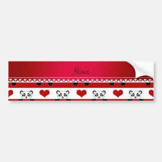 Personalized name white panda red heart stripes bumper sticker