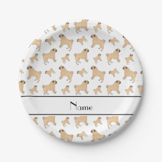 Personalized name white Pug dogs 7 Inch Paper Plate