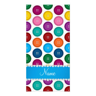 Personalized name white rainbow buttons pattern photo card