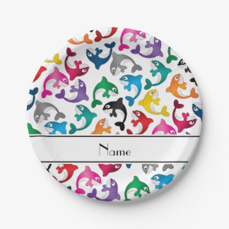Personalized name white rainbow killer whales paper plate