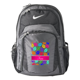 Personalized name white rainbow lipstick kisses backpack