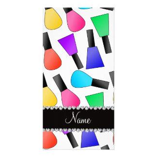 Personalized name white rainbow nail polish photo card