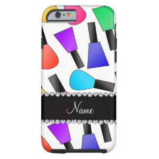 Personalized name white rainbow nail polish tough iPhone 6 case