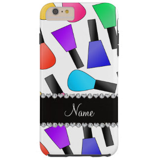 Personalized name white rainbow nail polish tough iPhone 6 plus case