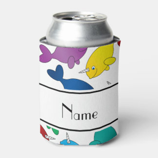 Personalized name white rainbow narwhals can cooler