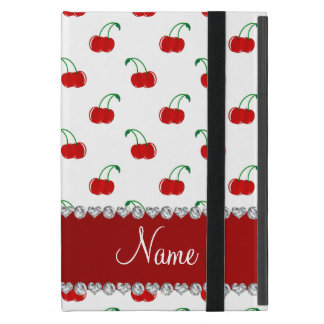 Personalized name white red cherries red stripe cover for iPad mini