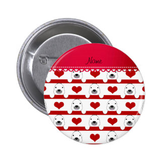 Personalized name white seals red hearts stripes 6 cm round badge