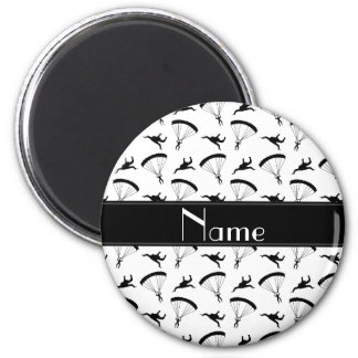 Personalized name white skydiving pattern 6 cm round magnet