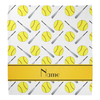 Personalized name white softball pattern bandana
