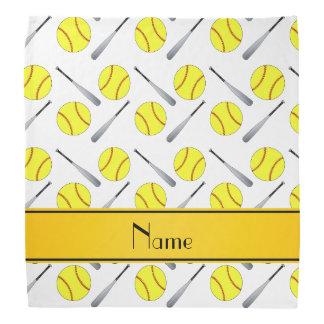 Personalized name white softball pattern bandannas