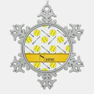 Personalized name white softball pattern snowflake pewter christmas ornament
