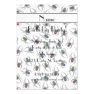 Personalized name white spiders magnetic invitations
