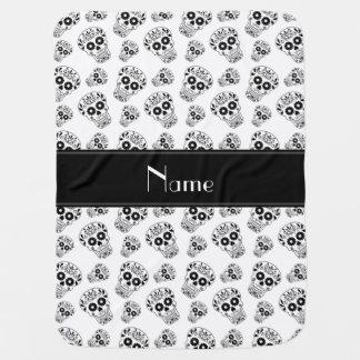 Personalized name white sugar skulls baby blanket