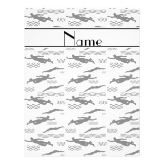 Personalized name white swimming pattern 21.5 cm x 28 cm flyer