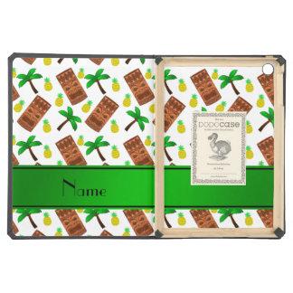 Personalized name white tiki pineapples palm trees iPad air covers