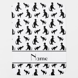 Personalized name white trex dinosaurs baby blanket