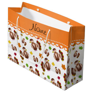 Personalized name white turkey's leaves large gift bag