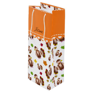 Personalized name white turkey's leaves wine gift bag
