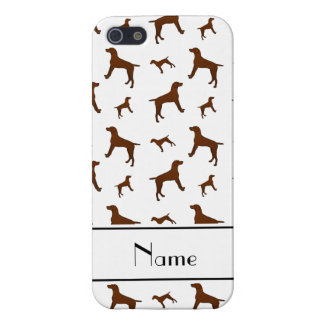 Personalized name white Vizsla dogs iPhone 5/5S Cases