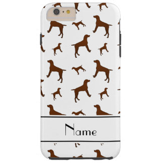 Personalized name white Vizsla dogs Tough iPhone 6 Plus Case
