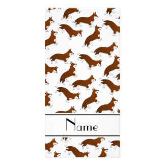 Personalized name white welsh corgi cardigan dogs picture card