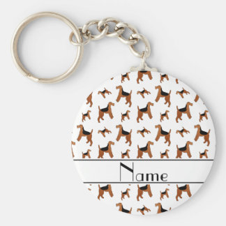 Personalized name white Welsh Terrier dogs Basic Round Button Key Ring