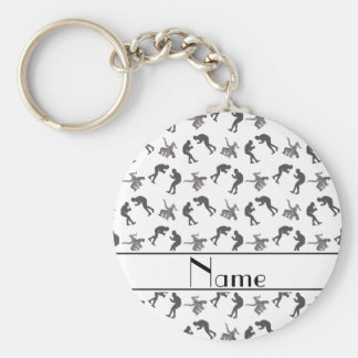 Personalized name white wrestlers key ring