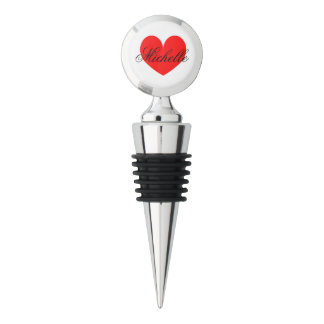 Personalized name wine stoppers with heart design