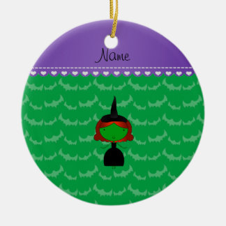 Personalized name witch green bats christmas ornament