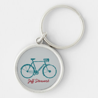 personalized name with Bike Silver-Colored Round Key Ring