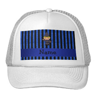 Personalized name wizard blue glitter stripes mesh hat