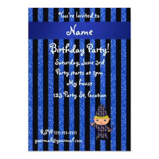 Personalized name wizard blue glitter stripes personalized invitation