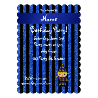 "Personalized name wizard blue glitter stripes 5"" x 7"" invitation card"