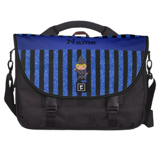 Personalized name wizard blue glitter stripes laptop computer bag