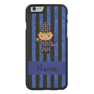 Personalized name wizard blue glitter stripes carved® maple iPhone 6 slim case