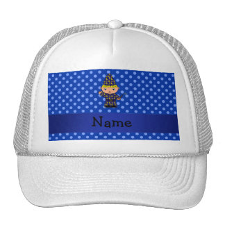 Personalized name wizard blue polka dots trucker hats