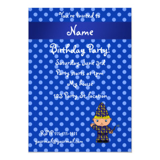 Personalized name wizard blue polka dots personalized announcement