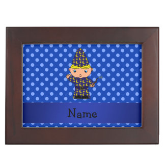 Personalized name wizard blue polka dots memory boxes