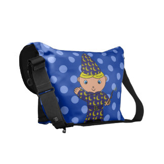 Personalized name wizard blue polka dots courier bags